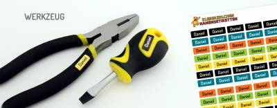 Mini-Aufkleber für Minidinge Werkzeug