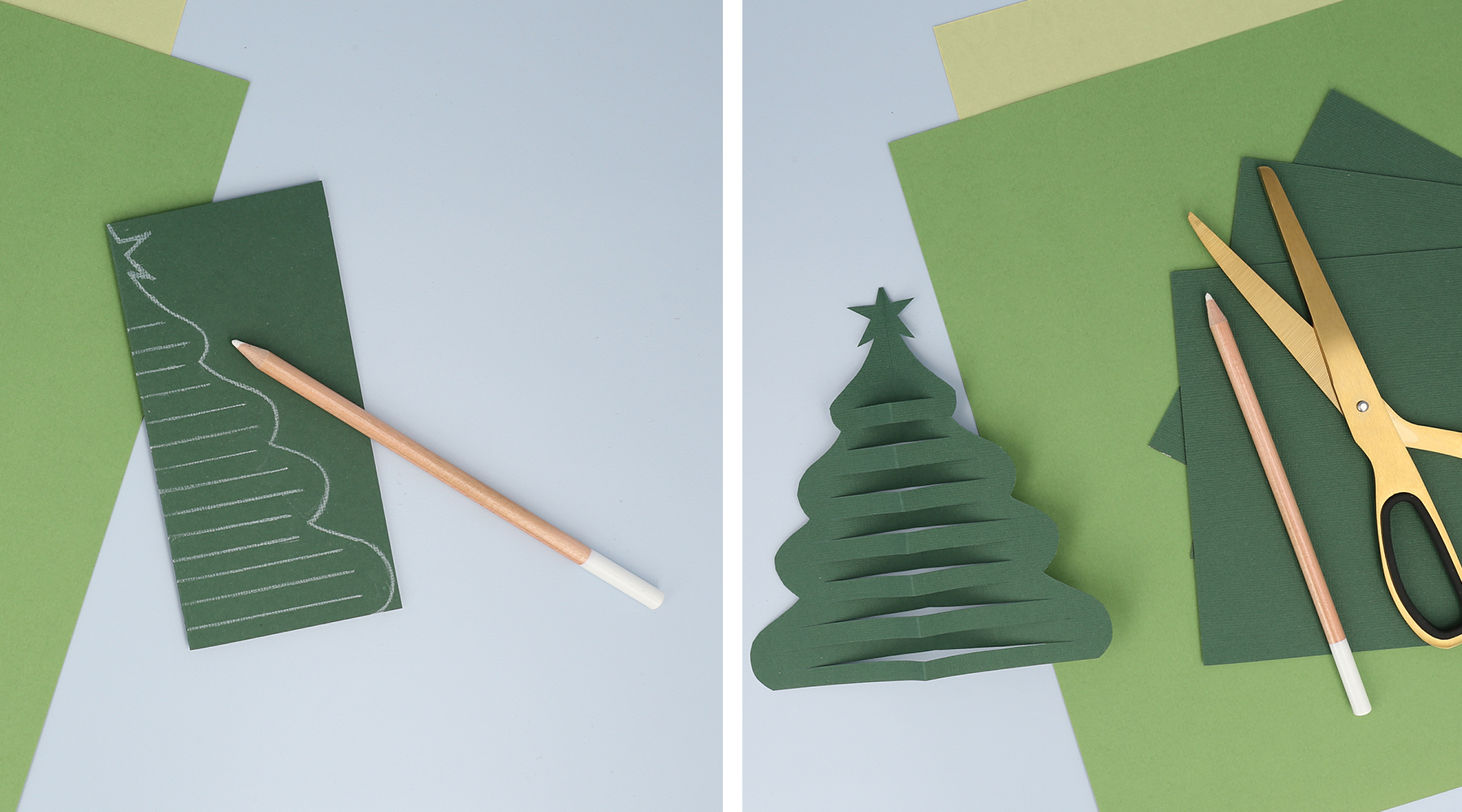 Zeichne und schneide einen schönen Weihnachtsbaum
