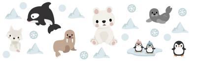 Wandsticker: Arktische Tiere