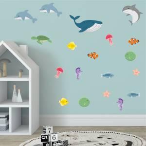 Coole Wandsticker mit Fischen und Tieren der See
