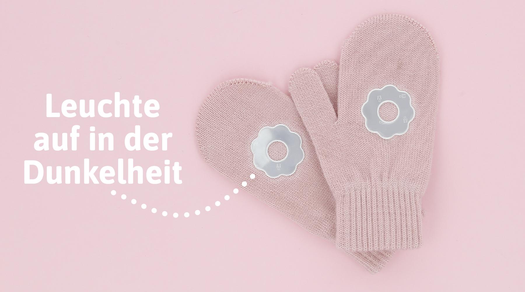 Handschuhe für Kinder mit selbstklebenden Reflektoren